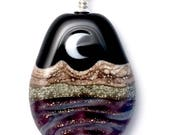 Pendant : Purple and Goldstone Crescent Moon Handmade Lampwork Glass Bead Natural Mountain Landscape w Sterling Silver