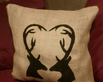 Deer Silhouette Pillow, Burlap Deer Pillow, Deer Pillow, Burlap Pillow, Primitive Decor, Country Decor, Hunter pillow, Outdoorsman Pillow