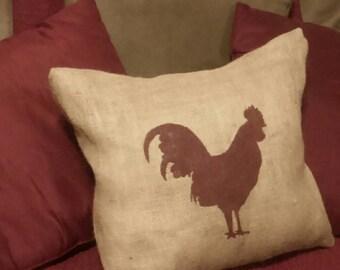 Rooster Pillow, Burlap Rooster Pillow, Rooster Silhouette Pillow, Rooster, Farm Pillow, Country Primitive, Burlap Pillow, Chicken Pillow