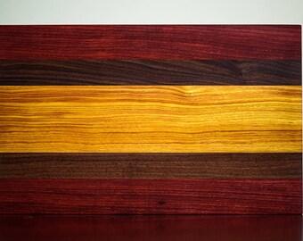 Padauk, Walnut, and Canarywood Cutting Board