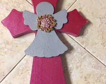 Decorated Cross with Angel   Handmade