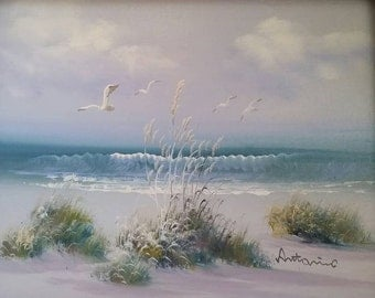 Vintage, oil, painting, beach, Antonio Tanos, shore, sand, dunes, seagull, nautical, framed, art, frame, print