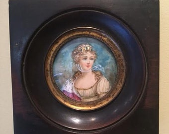Antique Miniture Portrait Of A Queen, Signed