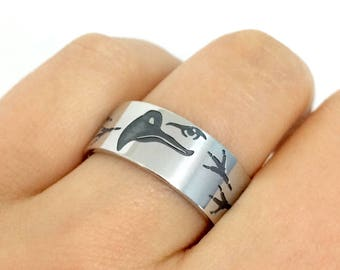 Sterling Silver Eagle Band Ring, Eagle Footprint Ring, Eagle Ring, Eagle Jewelry, Nature Ring, Animal Ring, Eagle Band Ring, Bird Ring