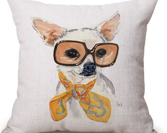 Chic Chihuahua Yellow Pillow