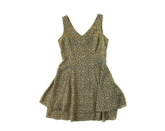 90s Olive Green Tiered Sleeveless Floral Dress (Women's Size Medium)