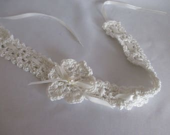 Hair band headband selfmade cream for girls with flowers + Pearl