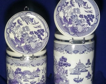 Vintage Heritage Mint Blue Willow  Air Tight Canister Set