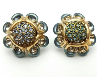 Intricate Round Large Resin Stud Earrings Vintage from the 80s Blue and Gold