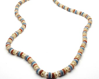 Colorful Rondelles Vintage Beaded Necklace from the 70s Boho Bohemian Hippie Primitive