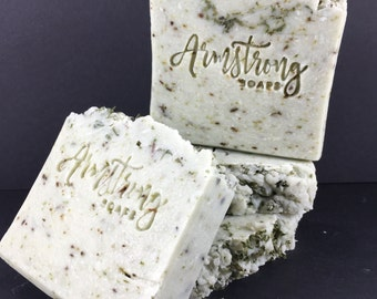 Rosemary Mint Herbal Soap-100% Handmade Rustic Artisan Soap-Essential Oil Infused Soap-Mint flakes throughout Soap