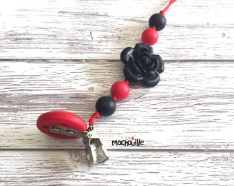 Baby pacifier holder, silicone pacifier chain, food grade silicone, silicone chew toy, baby safe, custom product, shower, red, Mâchouille