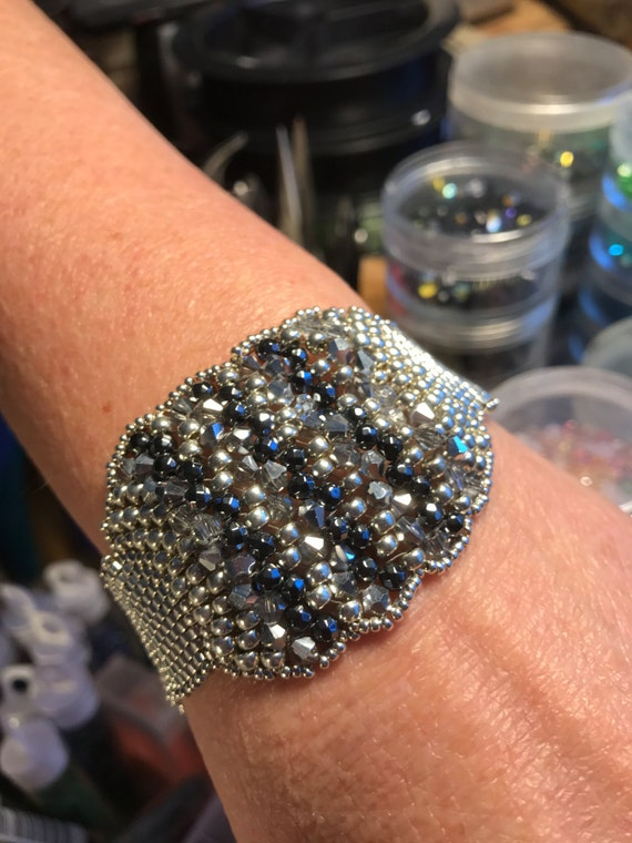 NO 149 Hand Beaded Crystal and Glass Bracelet
