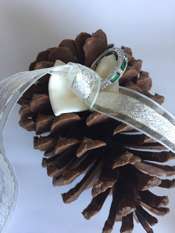 Ring Bearer Cushion Pine Cone - Wedding Ring Pillow Alternative - Bridal Accessory - Rustic Wedding Decoration - Ring Bearer Cushion