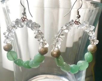 Clear Quartz and Green Aventurine Earrings