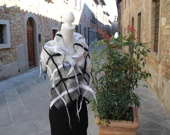 Hand painted silk scarf, Silk Scarf, Checkered silk Shawl, Scarves for women, Silk fabric, Shawl, Hand painted silk, Silk clothing