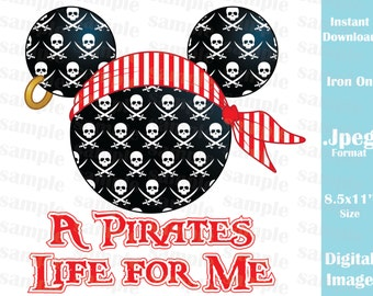 INSTANT DOWNLOAD DIY Mickey Mouse Pirate Disney Cruise Inspired Mickey Ears Printable Iron On Family Vacation Disney Trip