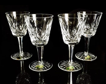 Waterford Crystal Wine Glasses, Lismore White Wine Glasses, 4 w/ ORIGINAL STICKERS. Waterford's preeminent design for 60 years.