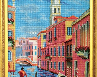 "Bead Embroidery Kit DIY Bell Tower San Marco Venice 10.2""x12.9"" Color Canvas Bead Set Needle Guide Beginners"