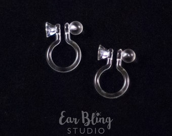 Pair of Invisible Clip On Earring Findings with Flat Front