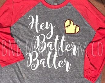 Hey Batter Batter Baseball Tee - softball - baseball