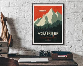Wolfenstein 3D Vintage Retro Travel Tourism Game Poster Art Print