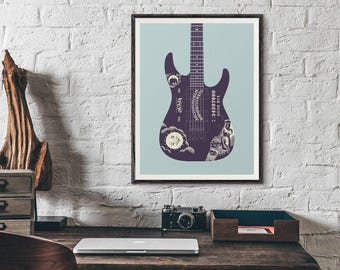 Kirk Hammett Metallica ESP Ouija Guitar Poster Art Print