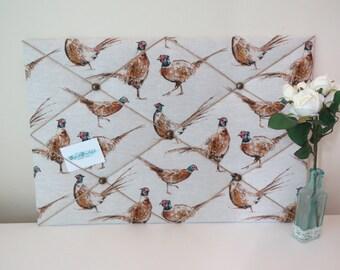 Handmade Pheasant Fabric Notice Board / Memo Board / Message Board
