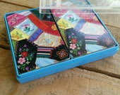"""vintage playing cards SET, Hallmark """"Patchwork"""", plastic coated bridge playing card SET, playing card set in box,quilt design playing cards"""