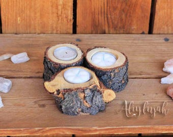 Small Wooden Log Tea Light Holder Rustic Candle