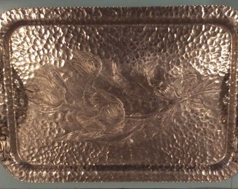 Vintage hand wrought hammered aluminum serving tray-Creations by Rodney Kent-tulip design-floral handles