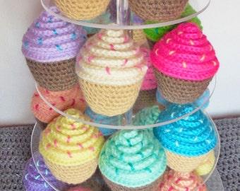 Personalized Amigurumi Crochet Cupcake / Stuffed Crochet Cupcake / Crochet Cupcake Play Food