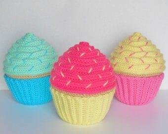 Large Personalized Amigurumi Crochet Vanilla Cupcake / Stuffed Crochet Vanilla Cupcake / Plush Amigurumi Crochet Cupcake
