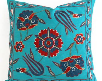 SALE ! - Red Turquoise Pillow, Silk Suzani Pillow Blue Green Hand Embroidery Vintage Suzani Pillow Decorative Pillows housewarming gift