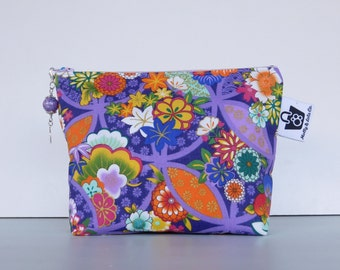 Cosmetic Bag, Emperor Cosmetic Bag, Makeup Bag, Zippered Pouch, Japanese Print, Japan, Cosmetics Case, Makeup Case, Pouch
