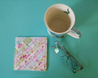 Quilted Mug Rug / Coaster / Quilted Coaster / Linen / Mug Rug / Coaster / Dining Accessories