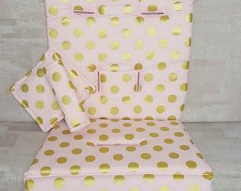 Stroller/Pram Liner made for Strider/Agile/City/Bugaboo and More ~ Gold Polka Dots over Blush
