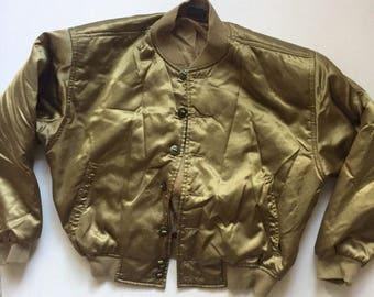 Vintage Gold satin bomber Jacket 80's 90's Liz Claiborne jacket small medium olive green Liz wear