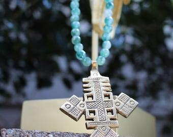 Ethiopian Coptic Cross| Amazonite, Antique Cross Necklace, Coptic Necklace, Boho Necklace, Tribal Necklace, Cross Necklace, long necklace