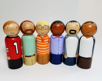 Dad Peg Doll, Dollhouse Figurines, Natural Wooden Toys, Pick Your Family Peg Dolls, Montessori Wooden Toys, Easter Basket Gift
