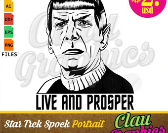 Star Trek Spock portrait, digital Illustration on editable files: SVG, DXF, eps, Ai files and PNG img, Great for all applications you need!
