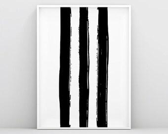 Black stripes - Black and White Lines - Abstract Brush Stroke Art Print - Minimalist Wall Decor - 3 Brush Strokes - Abstract Brush - Black