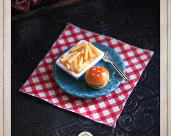 KIT CREATION ring adjustable diy fries, french fries, junk food, burger, Burger, fork, ceramics, food, kawaii, KC003