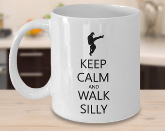 Monty Python Mug - Flying Circus Mug - Ministry of Silly Walks - Keep Calm and Walk Silly - Funny Coffee Mug Gift for Him or Her