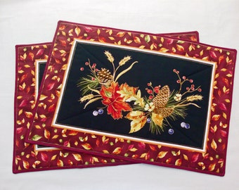 Autumn Placemats Quilted Placemats Fall Placemats Table Linens Harvest Placemats Harvest Decor Autumn Decor Placemat Set Handmade Placemats
