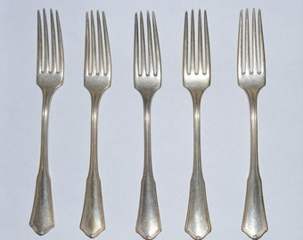 Oneida Community Reliance Silverplate Dinner Forks Dining Flatware Set of 5