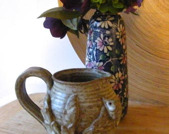 Pretty studio pottery jug with mouse and wheat detail