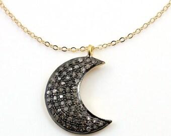 Pave Diamond Crescent Moon Diamond Pendant-Diamond Moon Charm,Pave Necklace-Neck-1