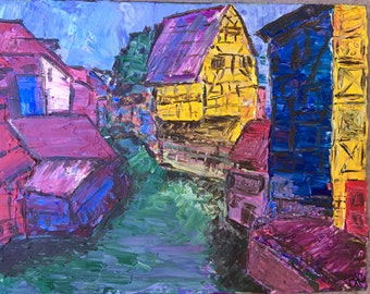 "Colmar (Alsace Region) France Acrylic on Canvas 11""x14"" - ORIGINAL"