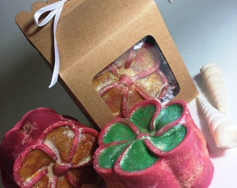 Loofah Soap, Pink Grapefruit, Plumeria, Scrub, Loofah Sponge, Natural Loofah, Vegan Soap, Gift Set in Box, Cocoa Butter Soap, Dead Sea Salt